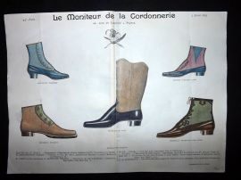 Le Moniteur de la Cordonnerie 1893 Rare Hand Colored Shoe Design Print 46